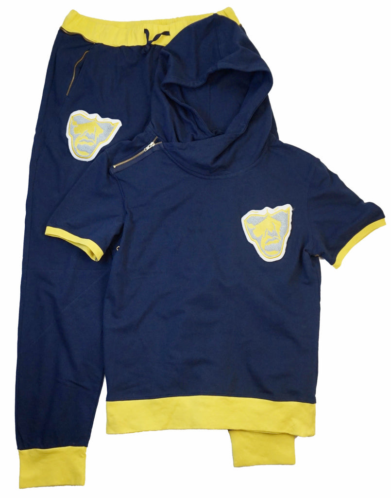 Varsity Big Face Short Sleeve Sweatsuit : Navy & Yellow