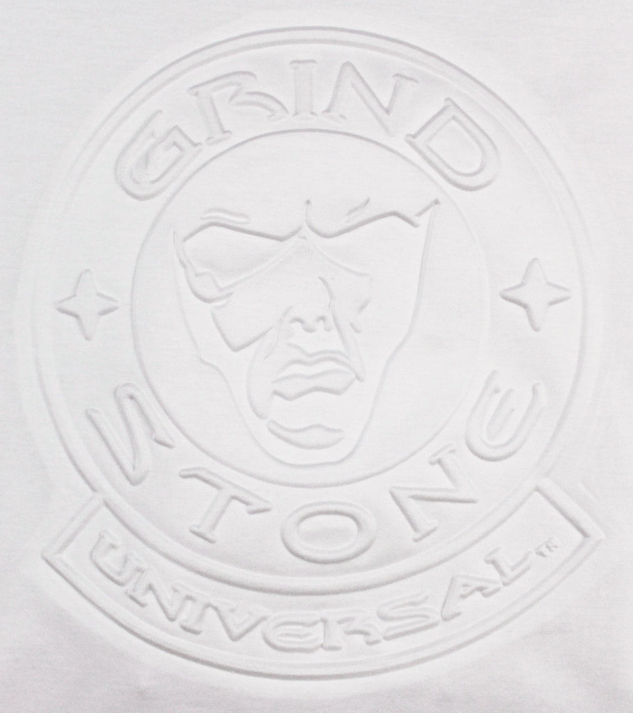 embossed logo men s t shirt white grindstone universal