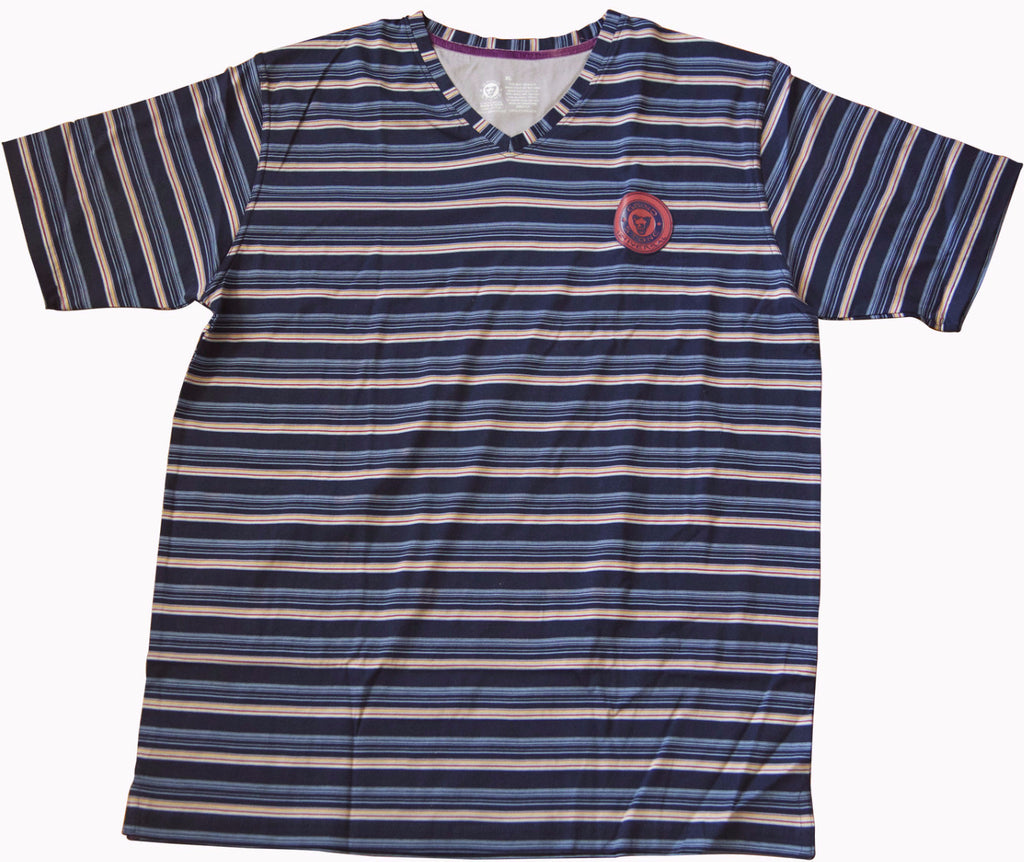 Mercerized V-Neck : Blue and Brown Multi Stripe
