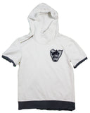 Varsity Big Face Short Sleeve Men's Sweatsuit Hoodie : White/charcoal