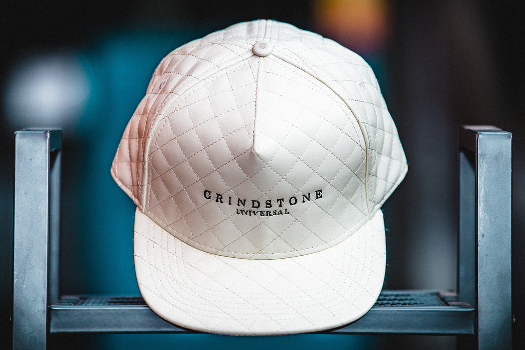 White Quilted Strapback