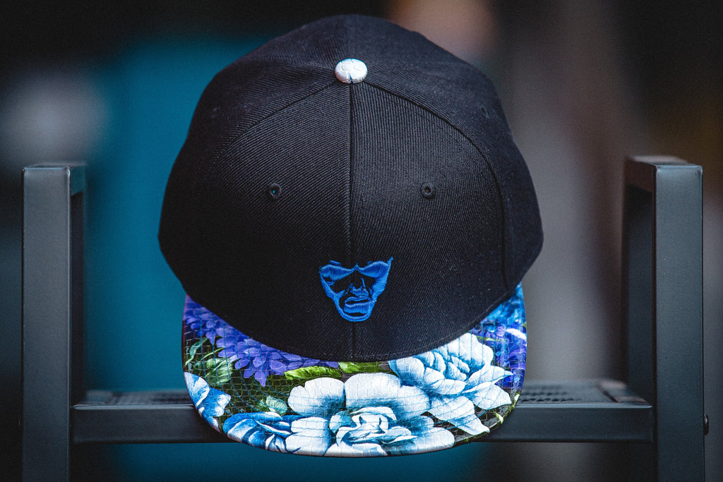 Floral Brim Big Face Snapback Hat