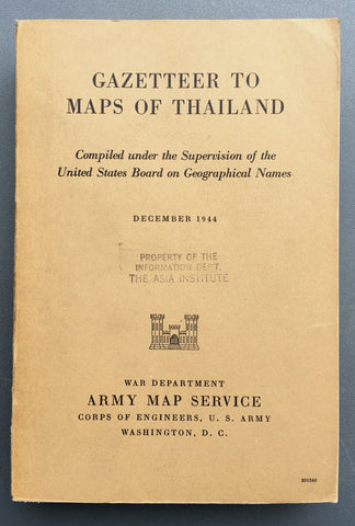 Gazetteer to Maps of Thailand.  Compiled Under the Supervision of the United States Board on Geographical Names