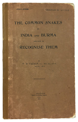 The Common Snakes of India and Burma and How to Recognise Them