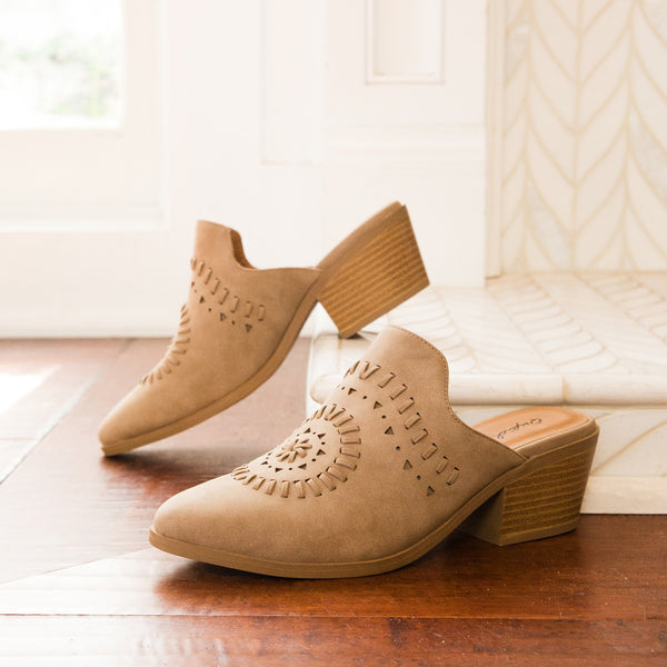 Montana-48 Warm Taupe Cut Out Mules