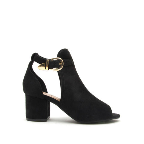 Aggie-01 Black Peep Toe Shoetie Sandal