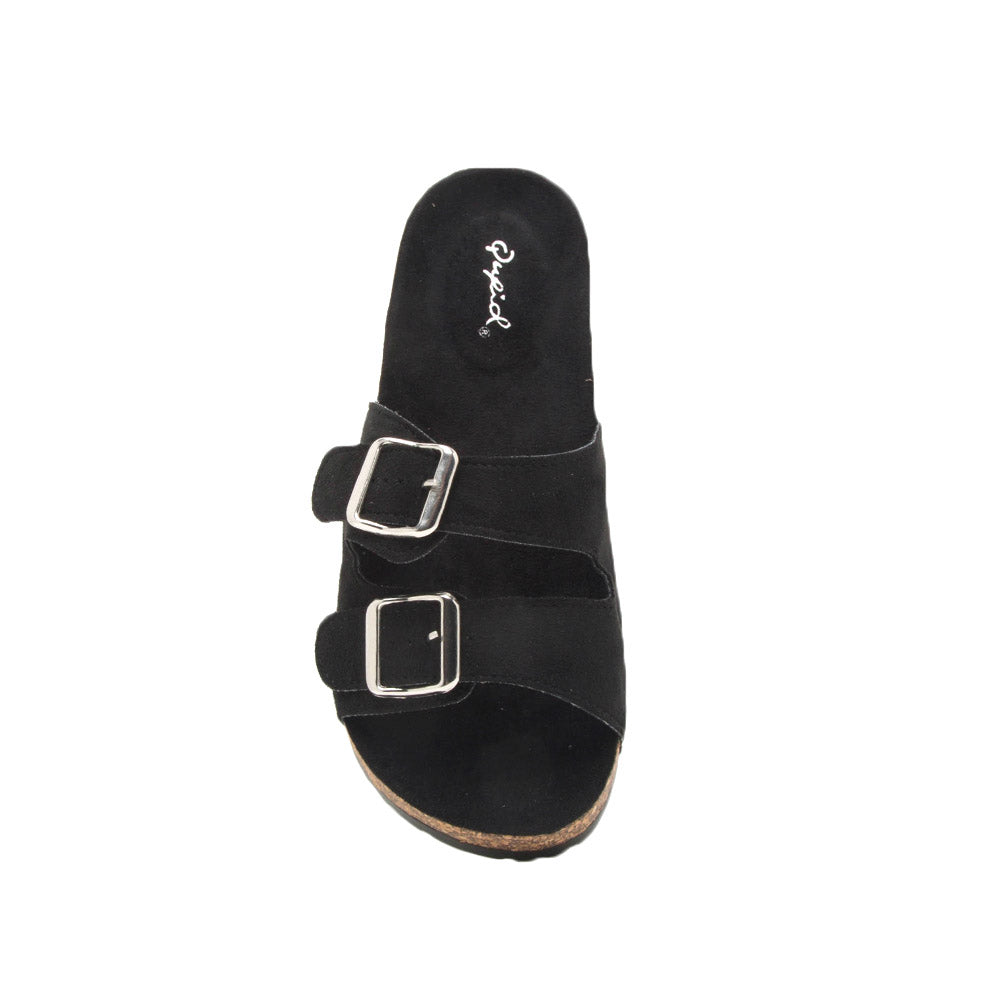 Ahana-02 Black Double Band Slides