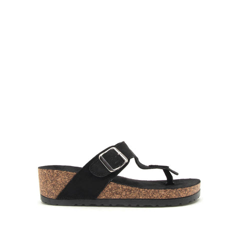 Ahana-03 Black Thong Sandals