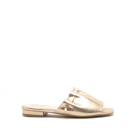 Ali-01X Gold Metallic Slide In Sandals