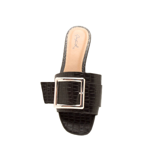 Ali-03X Black Buckle Slide In Sandals