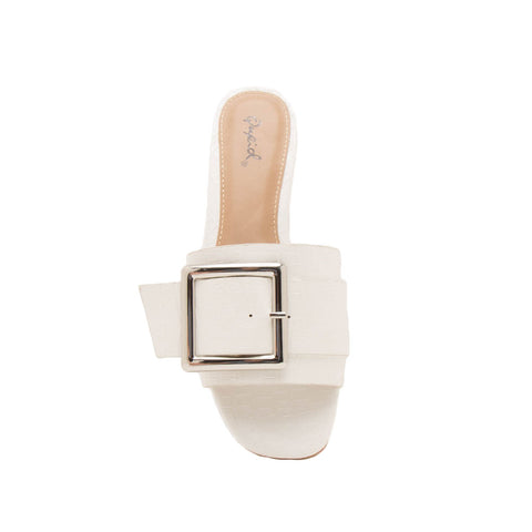 Ali-03X White Buckle Slide In Sandals