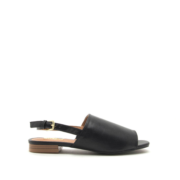 Ali-12A Black Open Toe Mule Sandals
