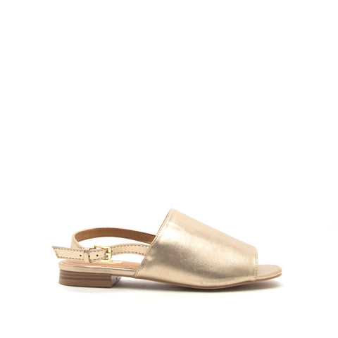 Ali-12A Gold Metallic Open Toe Mule Sandals