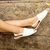 Ali-12A White Open Toe Mule Sandals