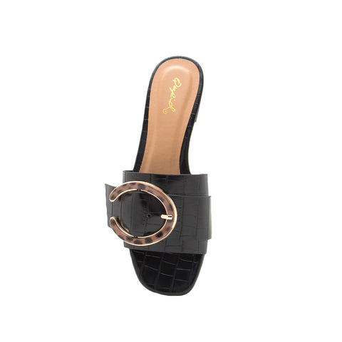 Ali-35A Black Croco Double Band Slides
