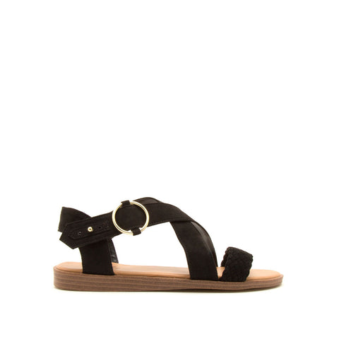 Alick-01 Black Braided X Band Sandals