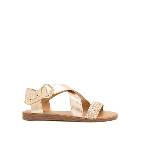 Alick-01 Champagne Metallic Braided X Band Sandals