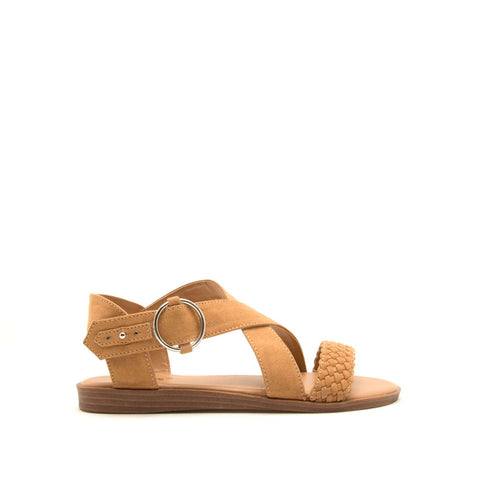 Alick-01 Tan Braided X Band Sandals
