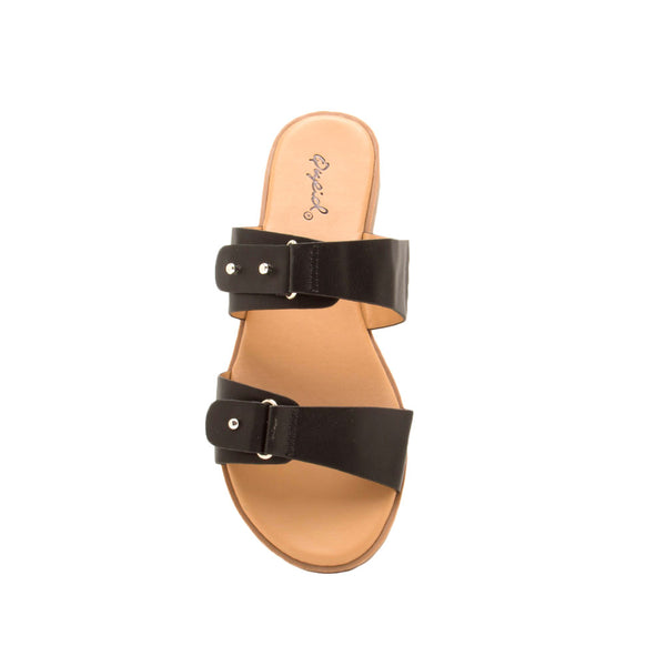 Alick-02 Black Double Band Slides