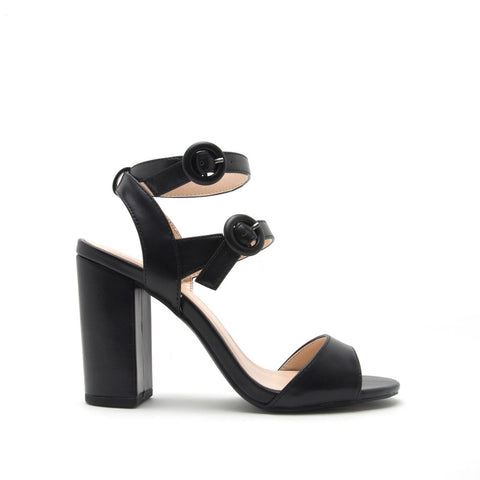 Alona-05 Black Double Ankle Strap Sandal