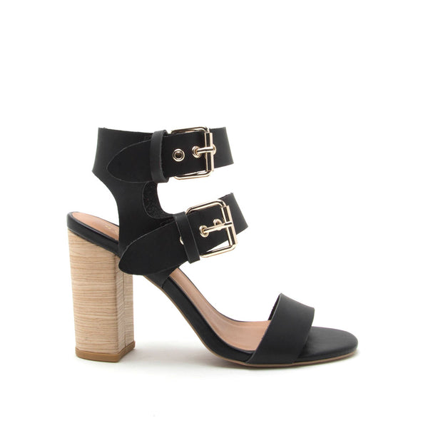 Alona-07 Black Double Strap Sandal