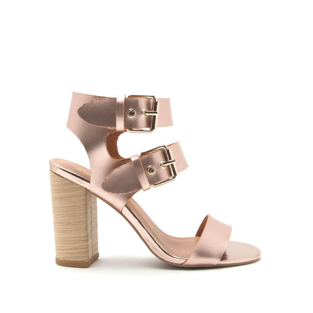 575837b5a2b2 Qupid Women Shoes Alona-07 Rose Gold Double Strap Sandal