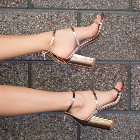 Alona-23X Champagne Metallic Three Band Sandal