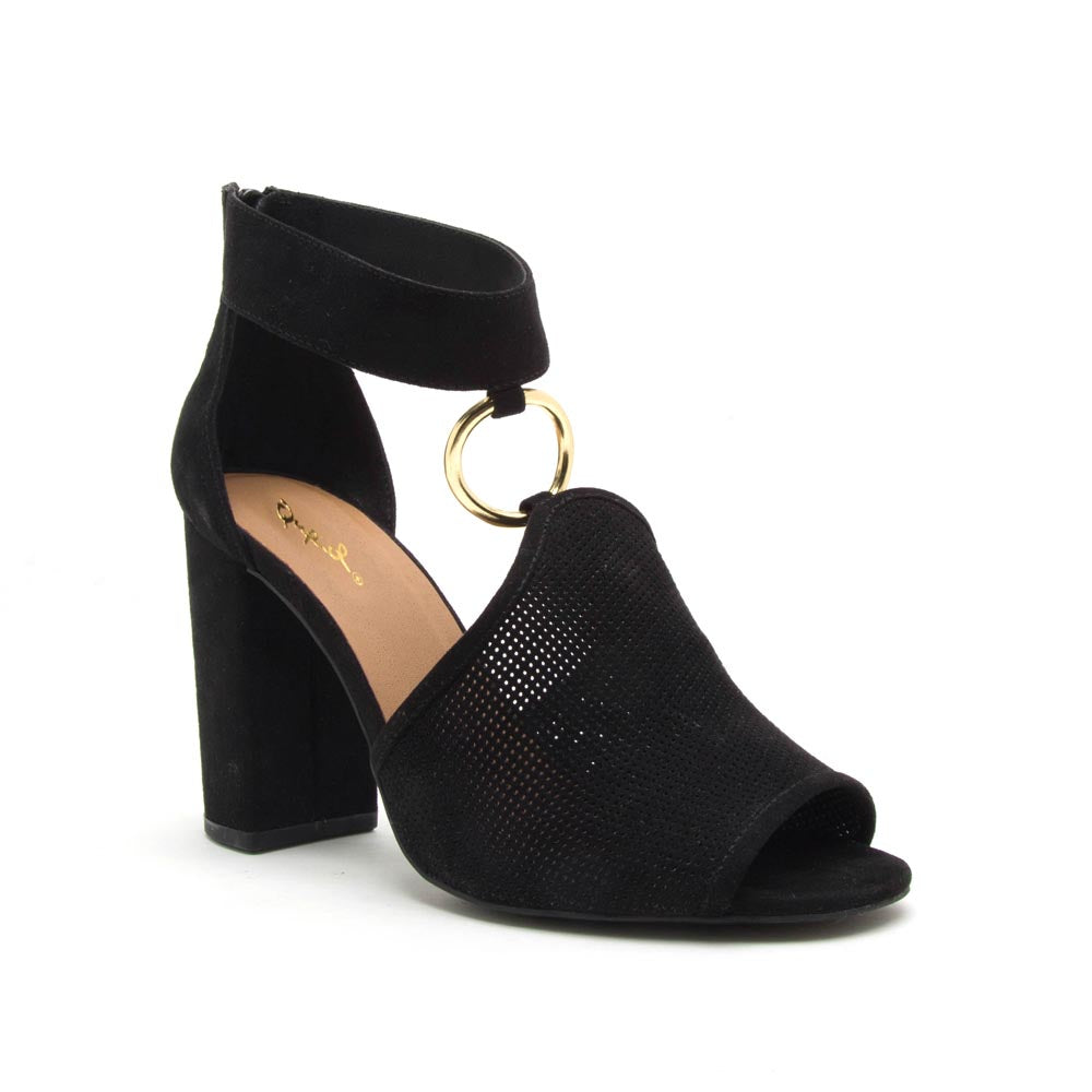 Alona-36A Black Peep Toe Sandal