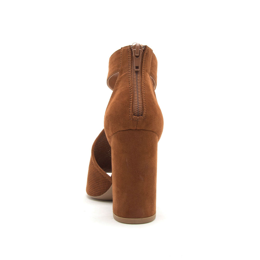 Alona-36A Chestnut Peep Toe Sandal