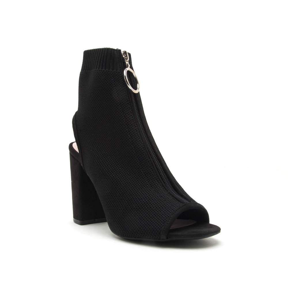 Alona-39 Black Peep Toe Sock Bootie