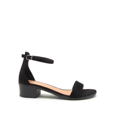 Alvarez-01 Black Suede One Band Ankle Strap Sandal