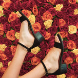 Alvarez-01 Black One Band Ankle Strap Sandal