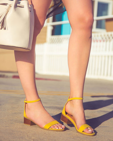 Alvarez-01 Yellow One Band Ankle Strap Sandal