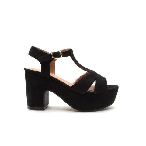 Anissa-01 Black Open Toe Sandals