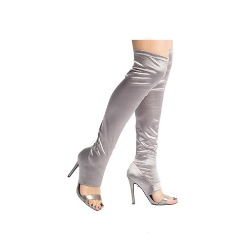 ARA-274 Pewter Over The Knee Peep Toe Stiletto Boot