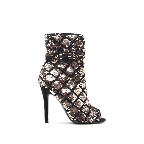 Ara-385 Rose Gold Black Sequined Velvet Ankle Boot
