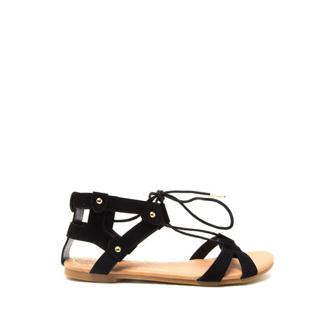 ARCHER-147 Black Crisscross Lace Sandals