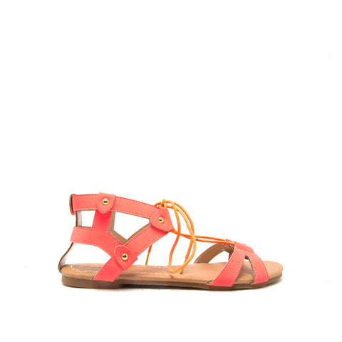 ARCHER-147 Neon Coral Crisscross Lace Sandals