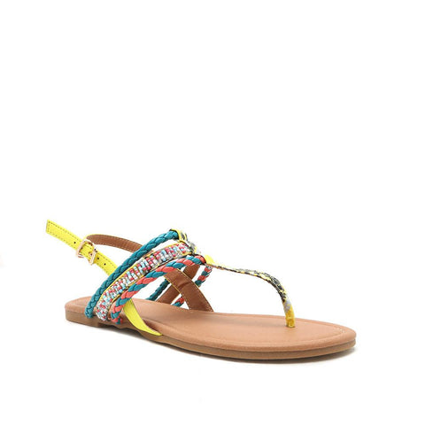 ARCHER-187 Neon Yellow Beaded T-Strap Sandals