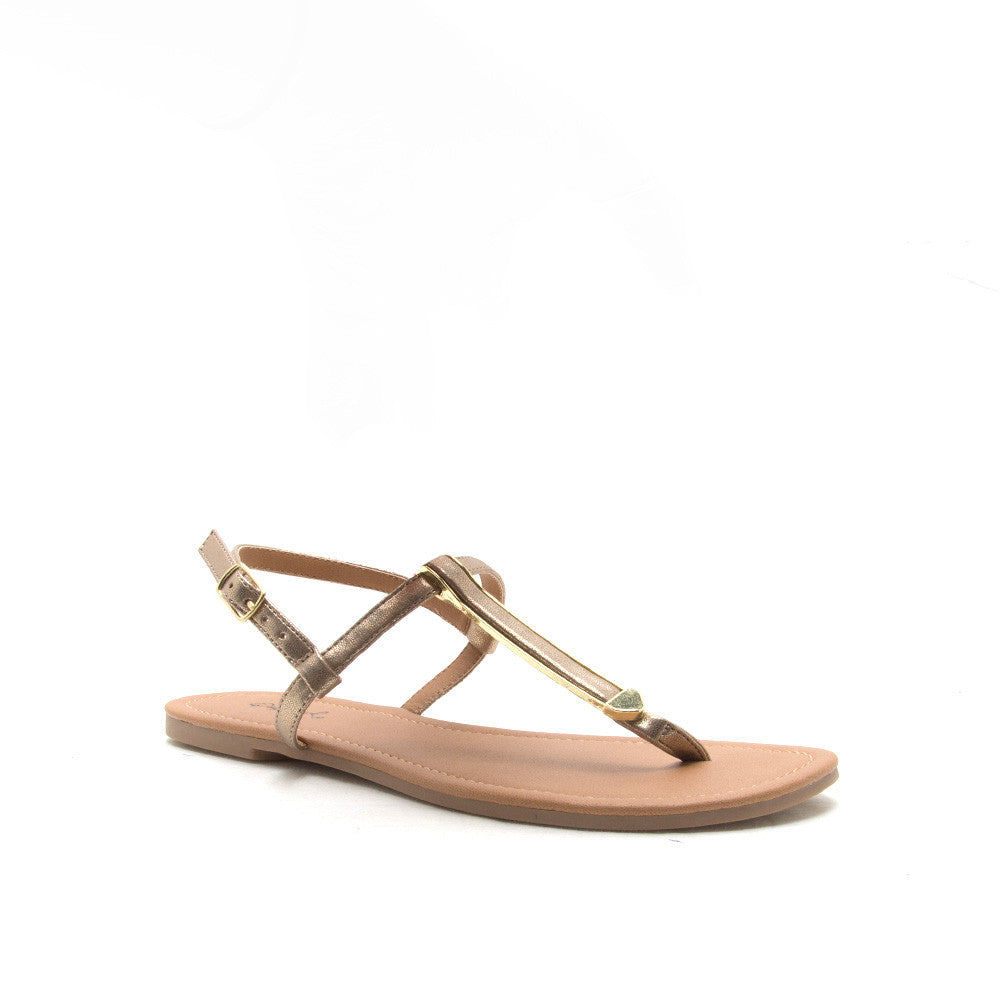 ARCHER-243 Gold Metallic Strap Gladiator Sandal