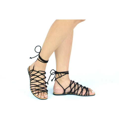 ARCHER-256 Black Knotted Lace-Up Sandal