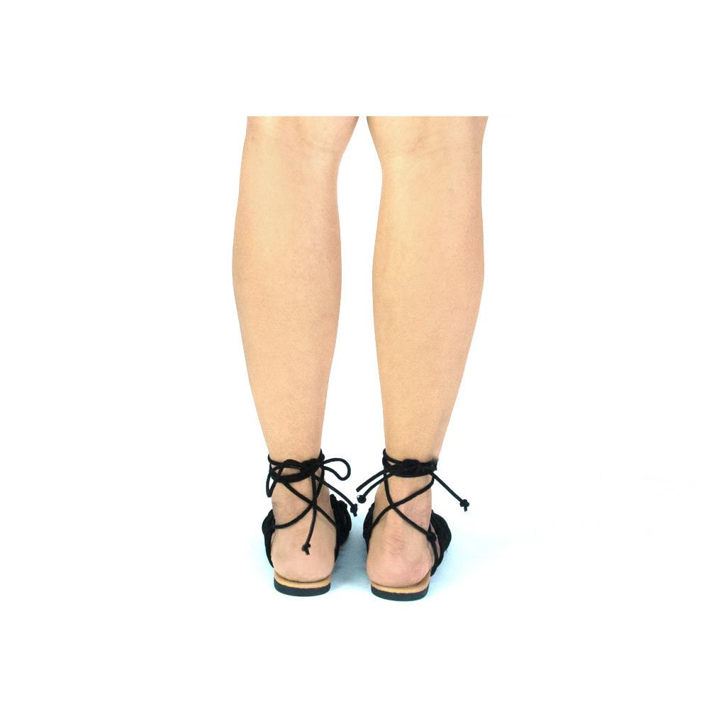 cd2cb266fa1f Qupid Women Shoes ARCHER-256 Black Knotted Lace-Up Sandal