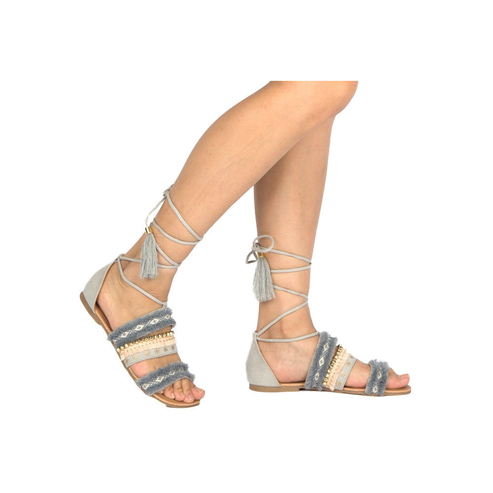 ARCHER-302 Grey Embellished Lace Up Sandal