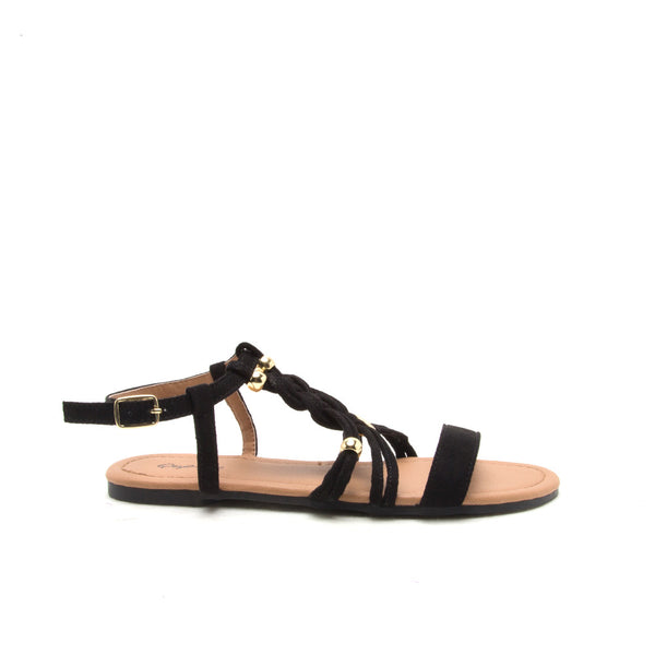 ARCHER-338X Black Braided Band Sandal
