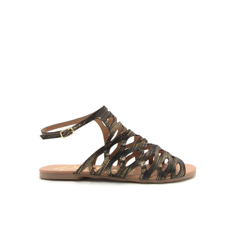 ARCHER-343 Black Gold Snake Caged Flat Sandal
