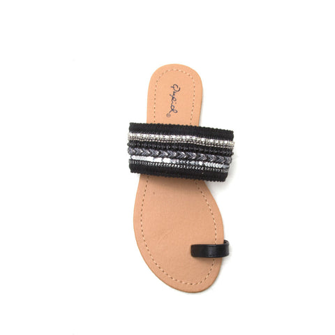ARCHER-377 Black Embellished Slippers