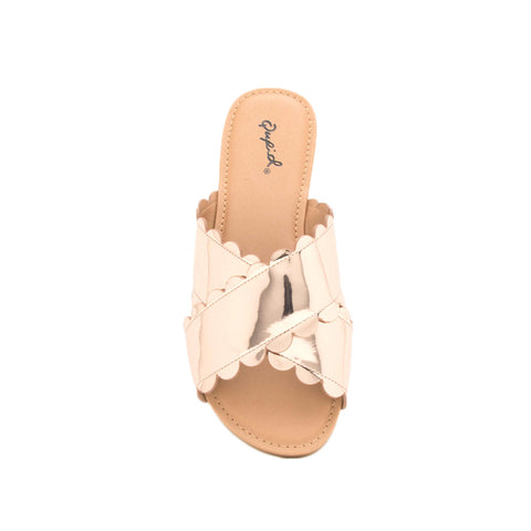 Archer-423 Rose Gold Metallic X Band Sandal