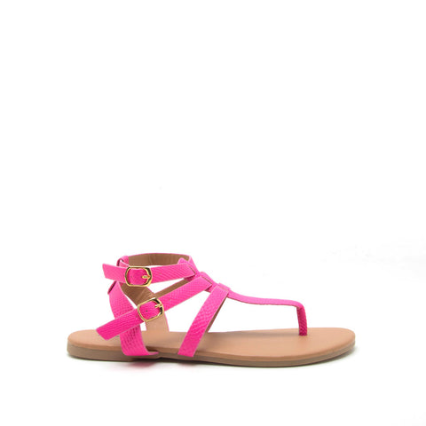 Archer-429X Hot Pink Snake Gladiator Sandal