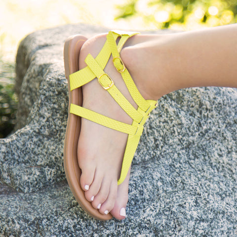 Archer-429X Neon Yellow Snake Gladiator Sandal
