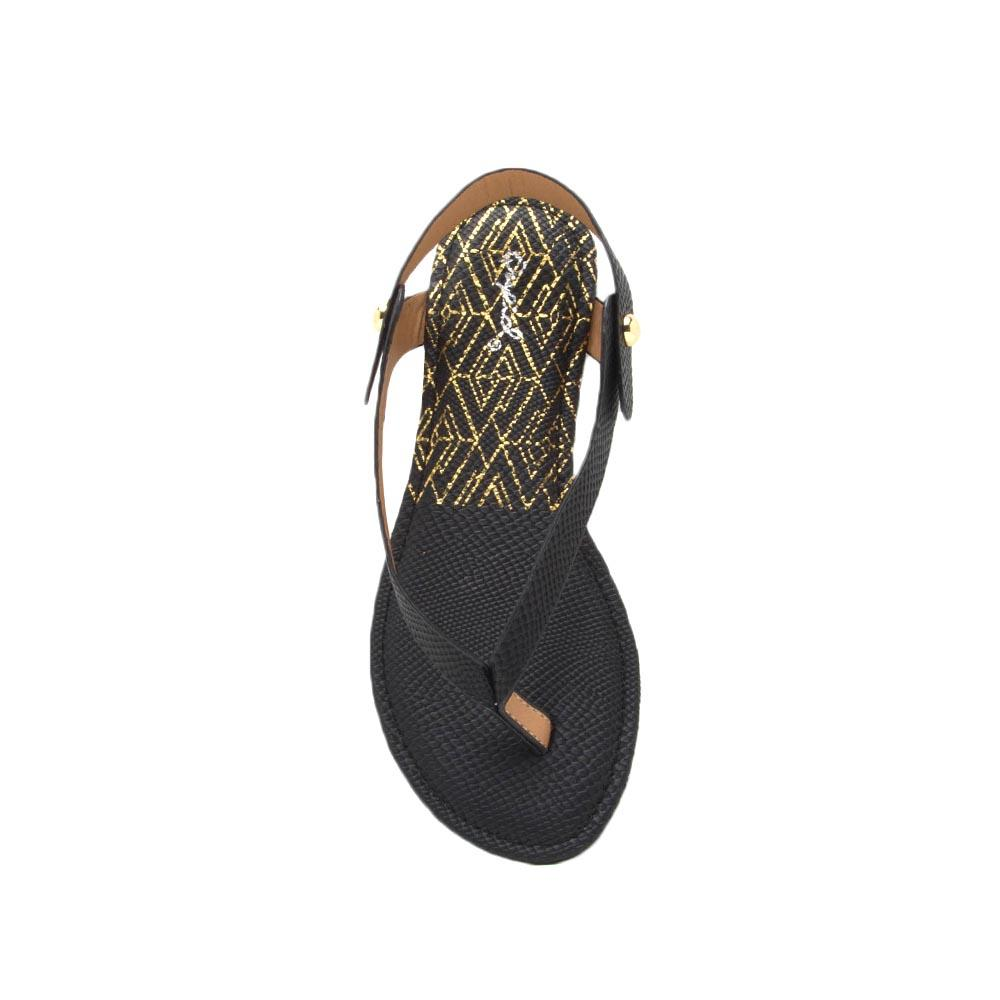 Archer-435X Black Snake Thong Sandal